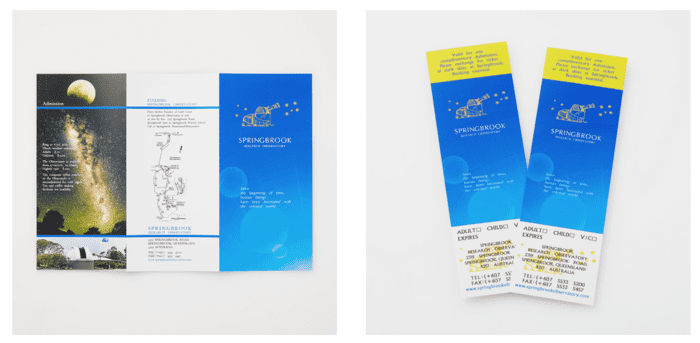 スプリングブルック天文台のリーフレット、入場チケット
